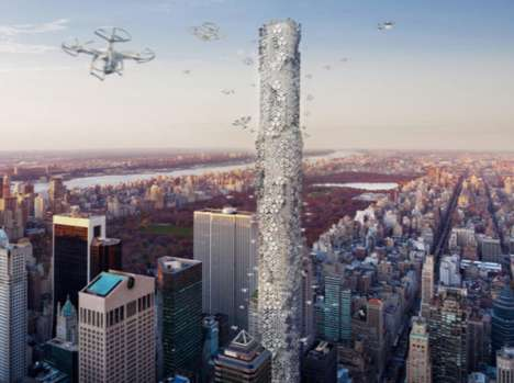 Delivery Drone Skyscrapers - The Hive is Envisioned as a Futuristic Drone Docking Station