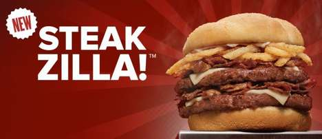 Supersized Steak Sandwiches - The New Steakzilla Burger Includes Two Beef Patties and Shaved Steak
