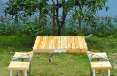 Folding Suitcase Picnic Tables - The Outsunny Folding Picnic Table Collapses into a Small Size