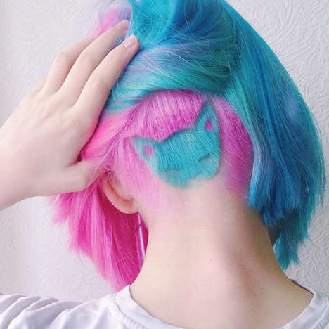 Vibrant Cat Hairstyles - This Russian Instagram User Transforms Her Tresses With 3D Hair Tattoos