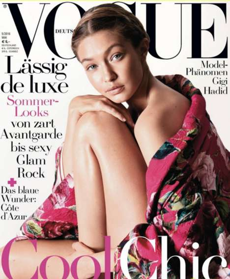 Subtle Skin-Baring Editorials - The Vogue Germany Gigi Hadid Cover Shoot is a First for the Magazine