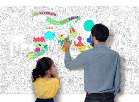 Wall-to-Wall Coloring Books - The Giant Coloring Roll Turns the Childhood Pastime into Wallpaper Art