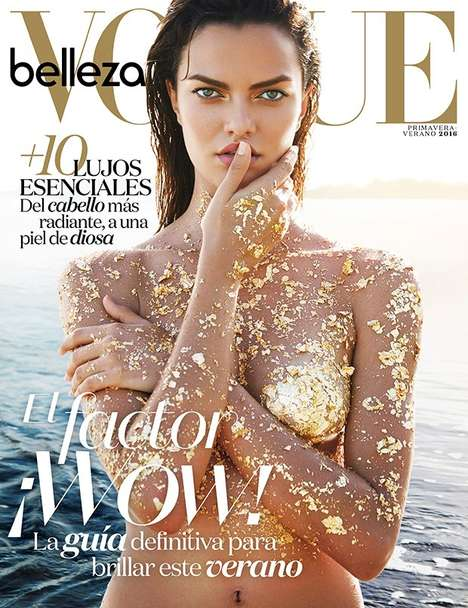 Gilded Beach Editorials - Vogue Mexico Beauty's Latest Exclusive is Lensed by Enrique Vega