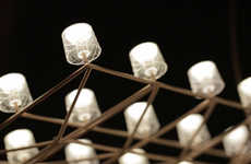 Trussed Ceiling Lamps - The Space-Frame Lights Include Dozens of LEDs Strung Together With Wire