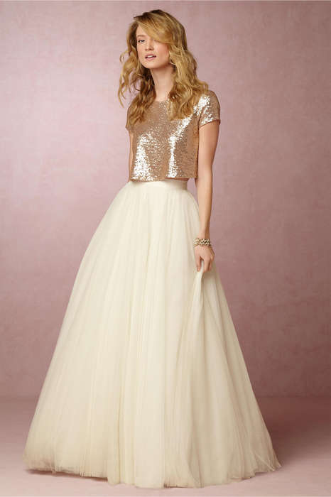 Understated Bridal Ensembles - This Modern Bridal Look Consists of a Skirt and Crop Top Combo
