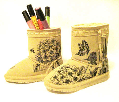 Children's Color-In Boots - Etsy's TheWoodsSecretGarden Provides a Template for Customizable Boots