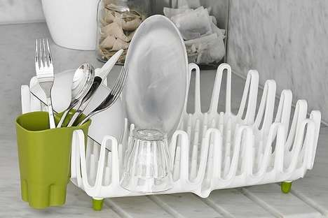 Enhanced Storage Dish Drainers - The ILO Clam Shell Dish Drying Rack Acts as a Drainer and Storage