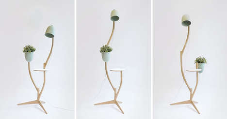 Multipurpose Organic Furniture - The 'Branch-out' Standing Lamp Acts as a Planter, Table and More
