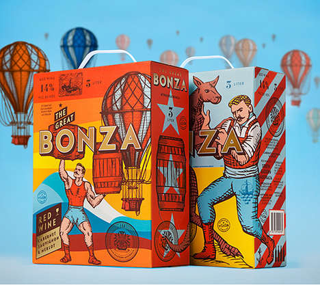 Retro Boxed Wine Branding - Bonza Wine's Packaging Boasts Vibrant and Vintage Graphics