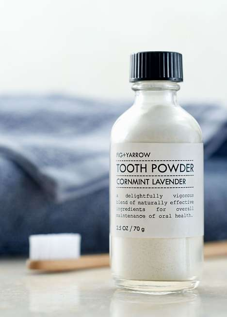 Artisanal Oral Care Branding - Fig + Yarrow's Tooth Powder is Packaged in a Labeled Glass Bottle