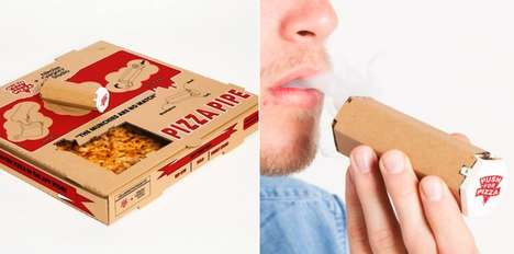 Pipe-Embedded Pizza Boxes - The 'Push for Pizza' Deliver Boxes Feature a Cardboard Pipe