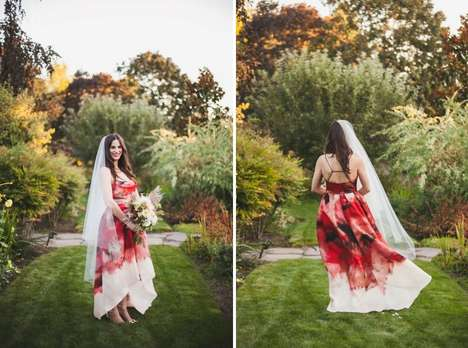 Watercolor Wedding Gowns - Kristina and Rory's Non-Traditional Ceremony Promotes Self-Expression