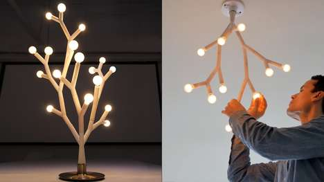 Reversible Arboreal Lamps - 'Splyt' Can Be Displayed as a Tree-Shaped Table Lamp or Chandelier