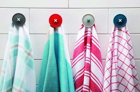 Haberdashery-Inspired Hooks - The Ototo 'Button Up' Magnetic Holder Works with Towels and More