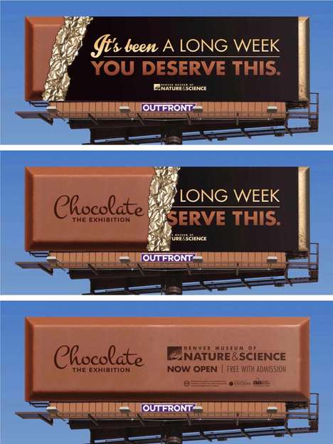 Unwrapped Chocolate Billboards - This Museum Ad for a Chocolate Exhibition is Gradually Revealed