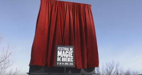 Disappearing Magic Billboards - This Quebec City Magic Festival Ad Does a Stunt Before the Public