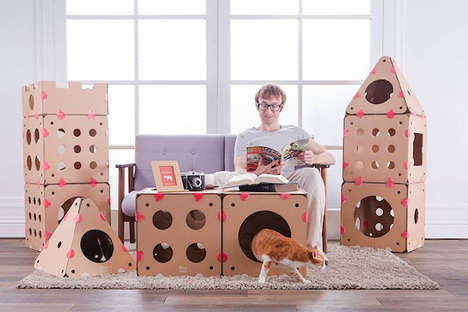 Customizable Cat Playgrounds - The BoxKitty is a Set of Feline Houses With Endless Set-Up Options