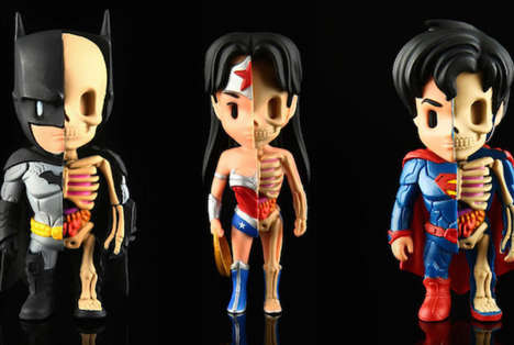Dissected Superhero Figurines - These Justice League Dolls Showcases the Heroes as Partial Skeletons