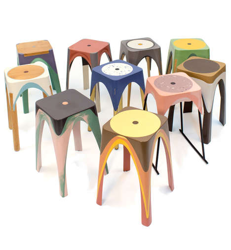 Eclectic Resin Stools - Matter of Motion by Maor Aharon is Full of Artistic Differences