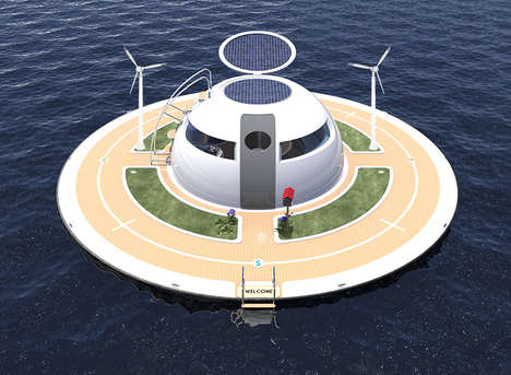 Floating Transportation Facilities - The UFO is a Livable Water Station With the Design of a UFO