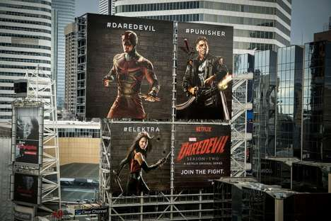 Dueling Vigilante Billboards - This Interactive Billboard Ad for Daredevil is Powered by Hashtags