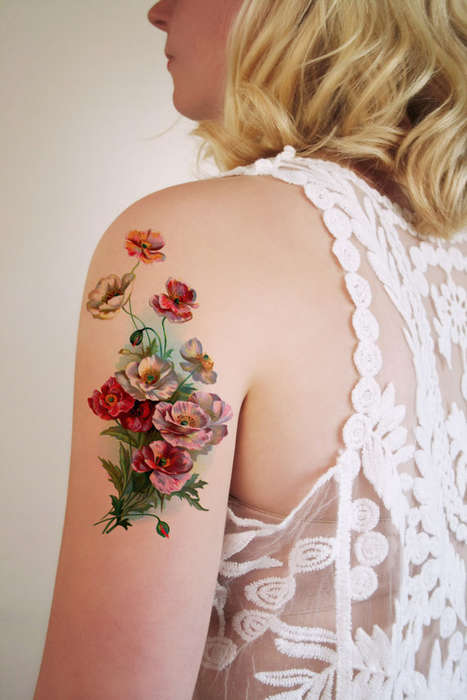 Botanical Tattoo Decals - These Vintage Floral Tattoos are Temporary and Easy to Apply