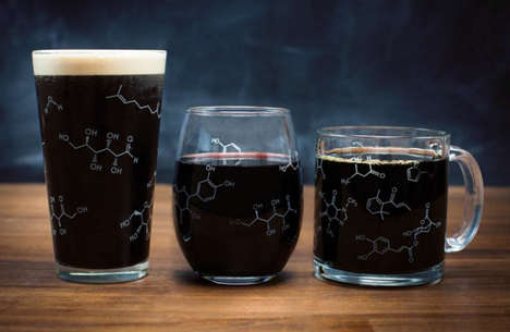 Scientific Molecular Glassware - The Chemistry Drinkware Set Features Engraved Molecule Patterns