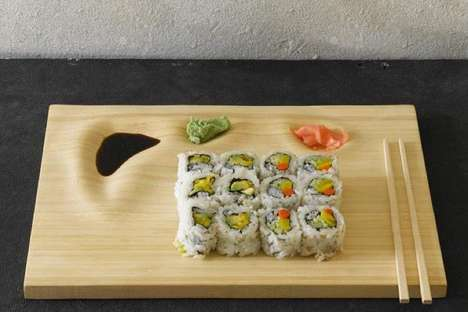 Sculpted All-in-One Sushi Trays - This Bamboo Sushi Tray Features Space for Maki and Sides
