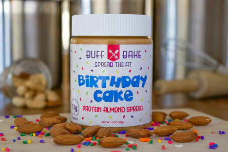 Dessert-Inspired Almond Spreads - Buff Bake's Almond Butter Spread Tastes Like Birthday Cake