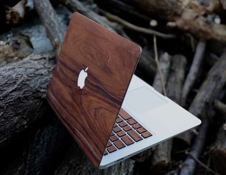 Handmade Veneer Laptop Cases - The artsn goods Wooden MacBook Skin is Crafted from Natural Materials
