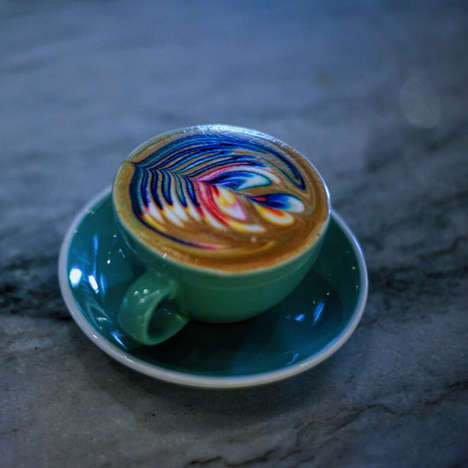Technicolor Latte Art - These Edible Foam Designs are Rendered More Vivid Using Food Coloring