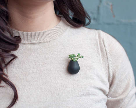 Wearable Planter Pins - These Miniature Lapel Pin to Shirts to Incorporate Greenery With Fashion