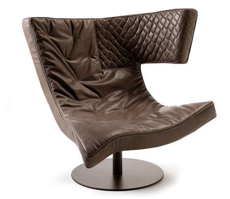 Modular Asymmetrical Armchairs - Giuseppe Vigano's Roxy Revamps Leather Seats With The Juno Form