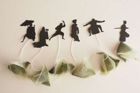 Expressive Ninja Teabags - These Tea Sachets Feature Paper Characters in Dark Silhouettes