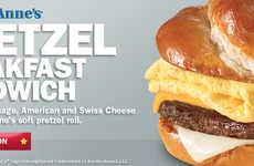 Pretzel-Based Breakfast Sandwiches - The Pretzel Breakfast Sandwich is Served on a Soft Pretzel Roll