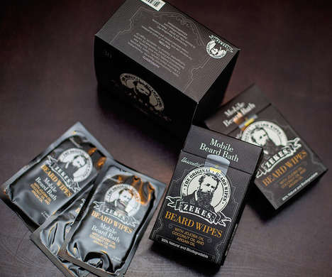 Facial Hair Care Wipes - Zeke's Beard Wipes are Infused with Jojoba, Coconut and Argan Oils