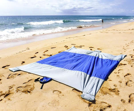 Oversized Nylon Beach Blankets - The Sand Escape Compact Beach Blanket Unfolds into a Large Blanket