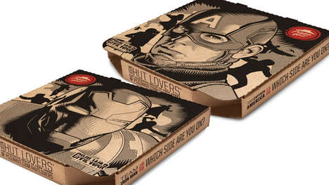 Superhero-Branded Pizza Boxes - These Promotion Pizza Boxes Mark the Release of an Upcoming Film