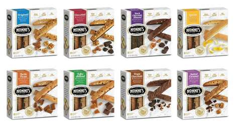 Dual-Image Dessert Packaging - The Nonni's Foods Biscotti Store Packages Focus on Freshness