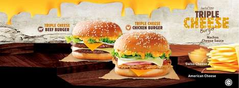 Nacho Cheese-Covered Burgers - The New Triple Cheese Burgers are Made for Cheese Lovers