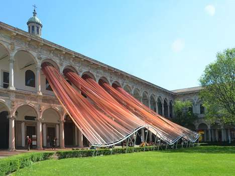 Dynamic Ribboned Canopies - Invisible Borders by MAD Architects is Created for Milan Design Week