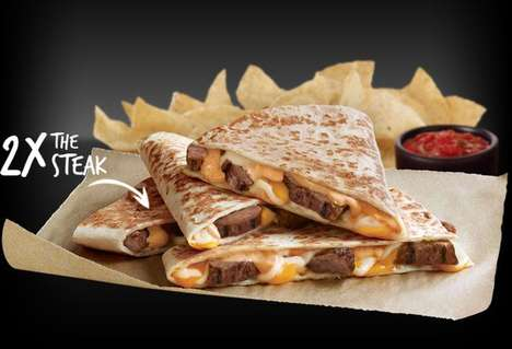 Extra-Meat Quesadillas - The 'Doubledilla' Features a Double Portion of Steak or Chicken