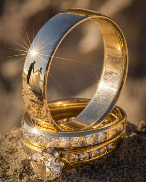 Reflective Wedding Photography - These Photos Capture Wedding Ceremonies in the Reflection of Rings