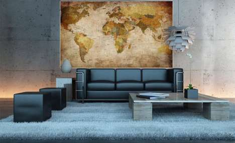 Vintage Topography Wall Art - This Vintage World Map Mural Can be Hung or Used as Wallpaper