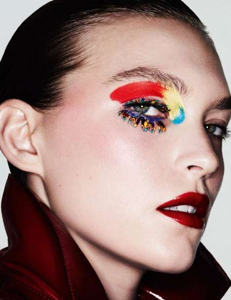 Expressive Rainbow Cosmetics - This Arizona Muse Beauty Story Features Conceptual Makeup Looks