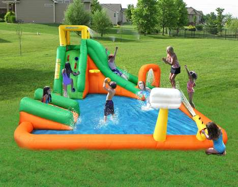 Bouncy Backyard Waterparks - The Magic Time Titan Falls Inflatable Water Slide and Pool is Expansive