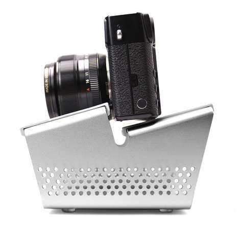 Angular Camera Stands - The Object 005 by BASE Offers a Stylish Aluminum Camera Presentation Holder