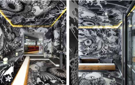 Tattooed Japanese Restaurants - Koi is Decorated with an Intricate Mural by Designer Claire Leina