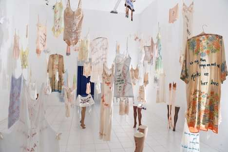 Lyrical Rapper Lingerie - The Every Curve Installation Shows Undergarments with Song Line Embroidery