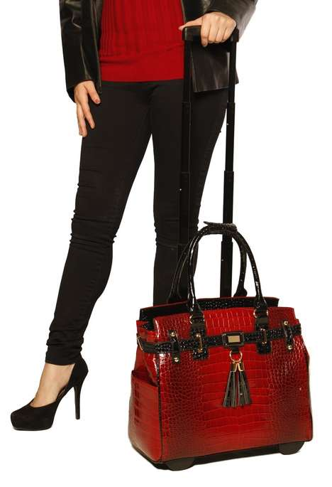 Handbag-Inspired Luggage - This Burgundy Purse Rolling Tote Disguises Luggage as a Handbag